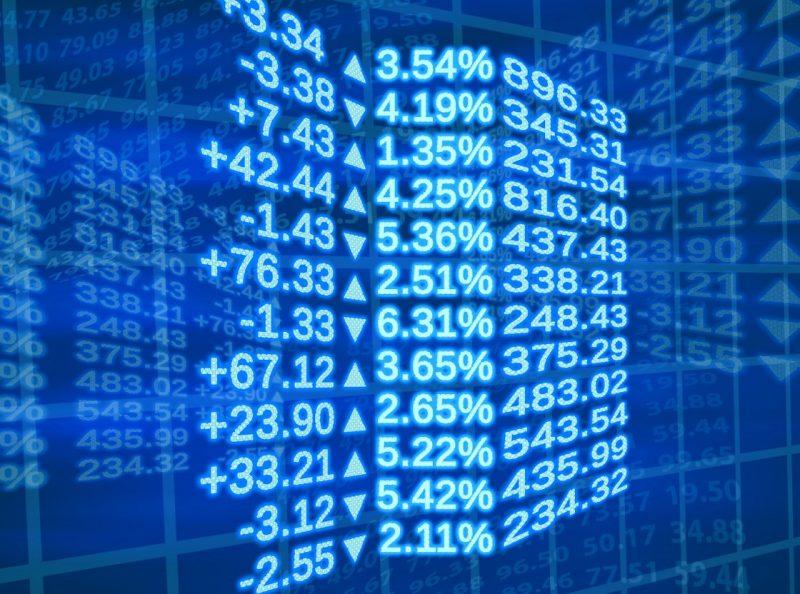 Digitala börssiffror i blått